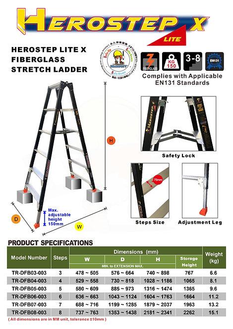 DR LADDER TR-DFB-003 Series  (HEROSTEP LITE X) 輕裝纖維伸縮A字梯