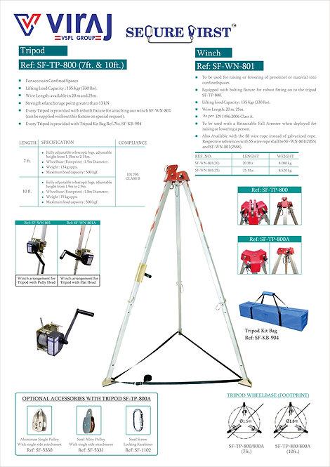 Viraj SF-TP-800 Tripod 7ft 三角架連袋+SF-WN-801 Winch 20M 手絞盤