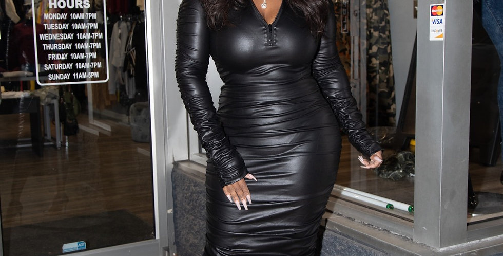 Body ruched faux leather dress