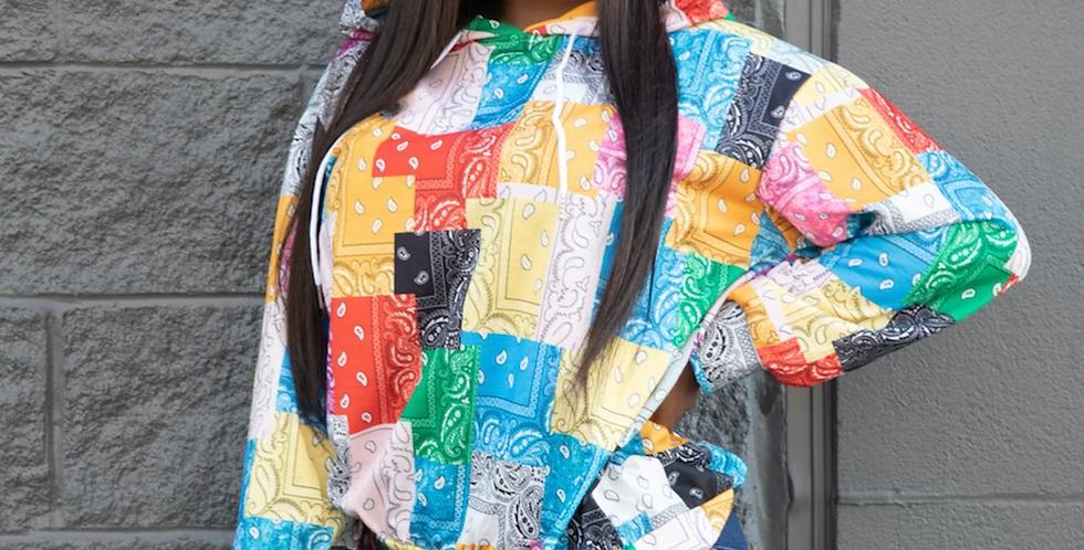 Bandana patch work hoodie