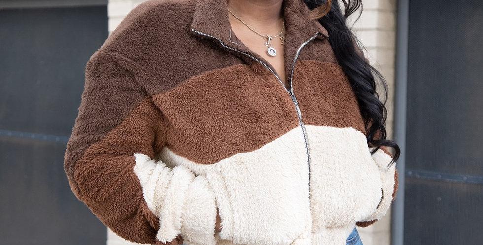 Tri color teddy jacket