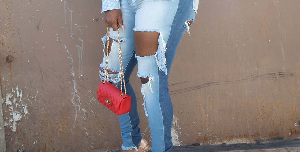 Two face distress jeans