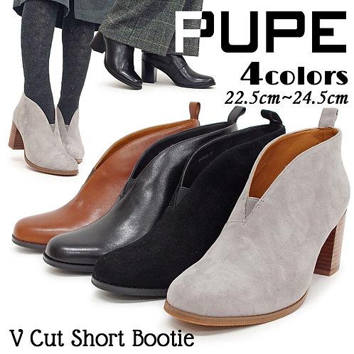 【PUPE プーペ】Vカットショートブーティ【17A03】7cmヒール