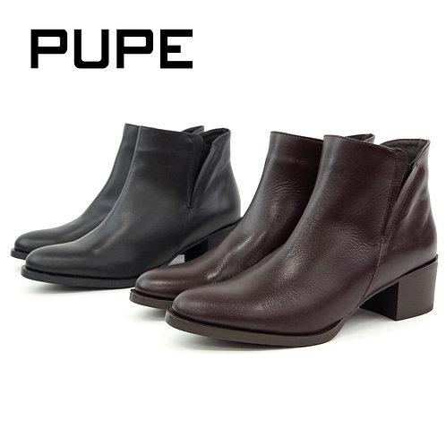 【PUPE プーペ】サイドゴア ショートブーツ【1130】ブラック スムースレザー/ブーツ/本革/サイドジップ/レディースブーツ
