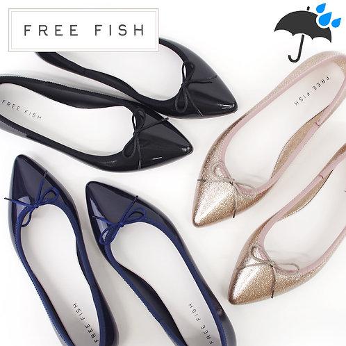【FREE FISH フリーフィッシュ】ポインテッドトゥレインパンプス【ROACH BOW】レインパンプス レインシューズ