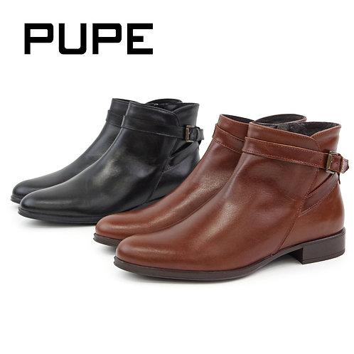 【PUPE プーペ】アンクルベルト ショートブーツ【1276】全2色 本革ブーツ/ジップブーツ/ブーツ/本革/レディースブーツ