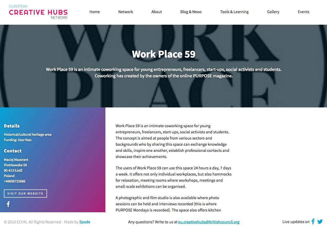 Work Place 59 w sieci Creative HUB