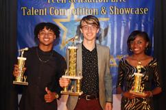 2019 Teen Sensation Live Winner and Runner-ups.  Left to right Haven 2nd Place Winner, Andrew Robichaud 2019 Winner & Mecca Alexander 3rd Place Winner