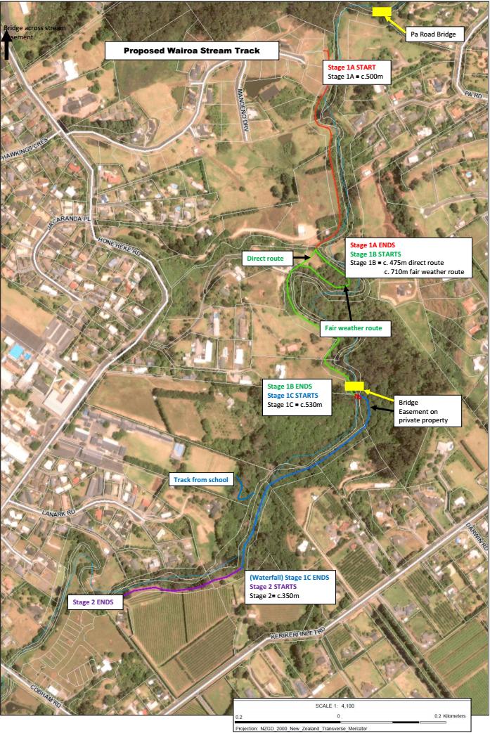 Map of the Wairoa Stream Walkways