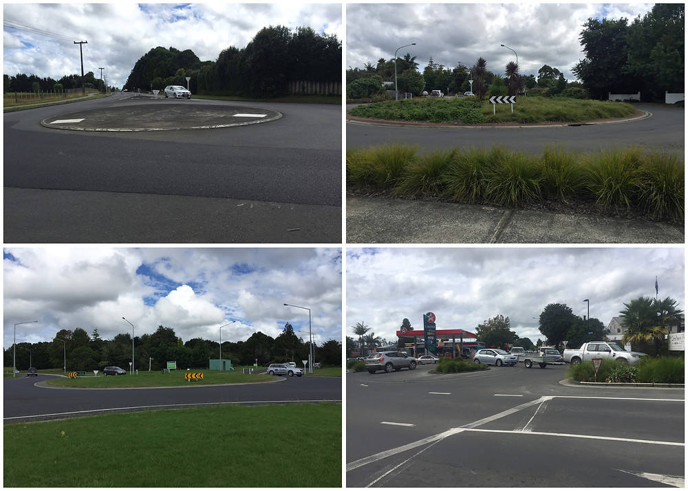 Four different types of Kerikeri roundabout