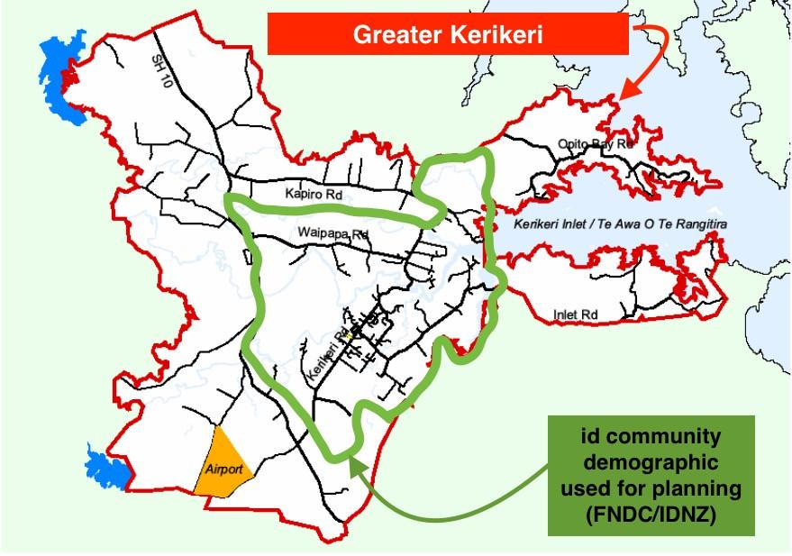 Population areas of Kerikeri