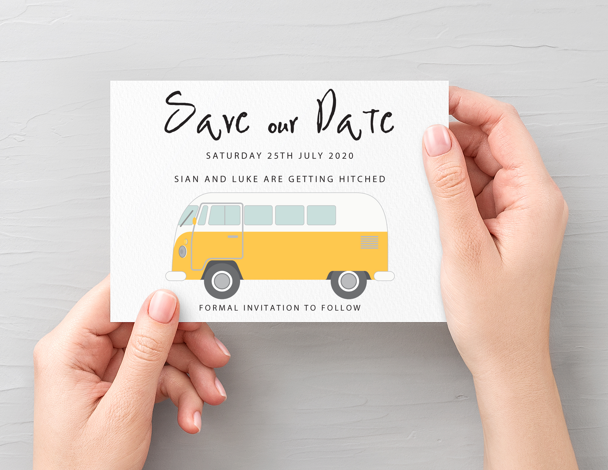 Campervan Save the Date Yellow