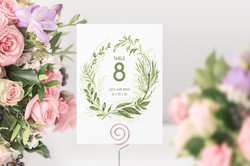'Spring Wreath' Table Number Card