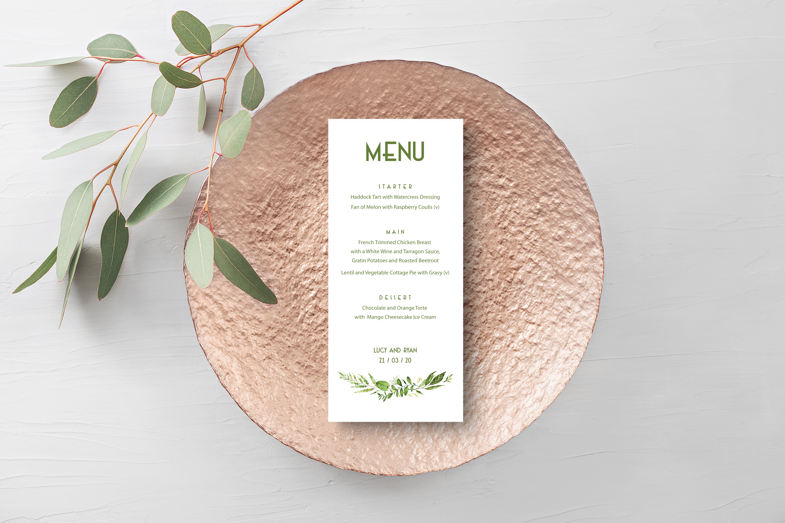 Spring Wreath Menu White