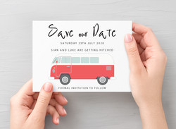 Campervan Save the Date Red