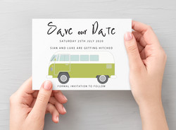 Campervan Save the Date Green