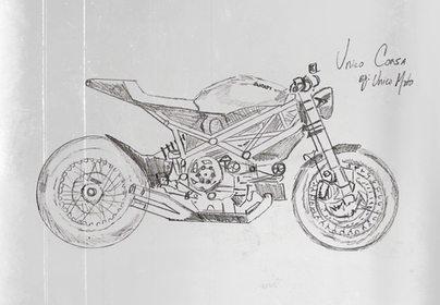 Corsa Ducati Cafe Racer Sketch by Unico Moto