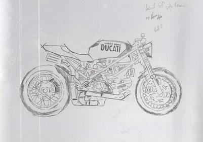 UNICO 1GP Ducati Cafe Racer Sketch by Unico Moto