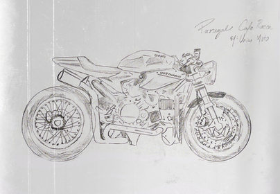 Panigale Ducati Cafe Racer Sketch by Unico Moto