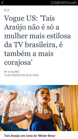 2016 - Caderno Ela sobre Taís Araújo