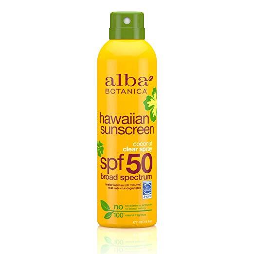 Alba Botanica coconut oil hawaiian clear spray sunscreen spf 50 reef safe sunscreen and biodegradable