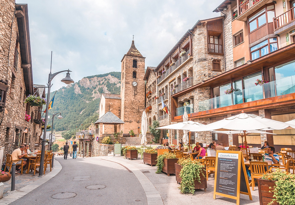 Ordino Andorra Small Town Streets And restaurants