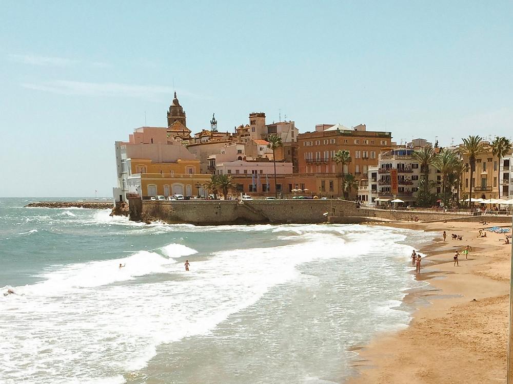 Sitges Ocean view Barcelona Spain beach with church
