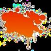 Tache de peinture orange