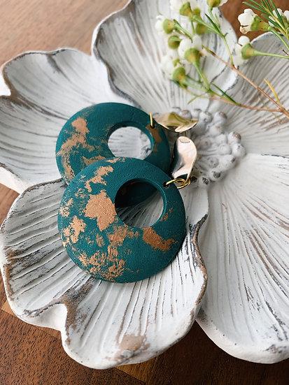 Deep Turquoise & Gold Filigree Earrings
