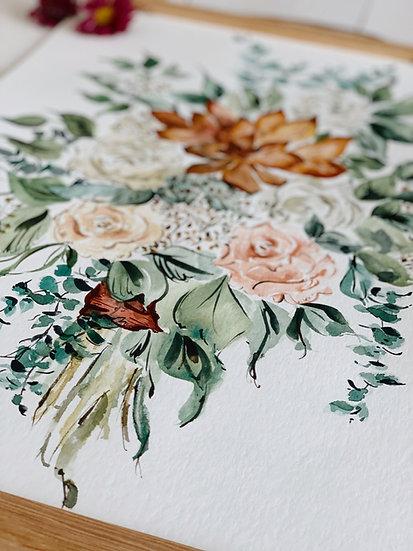Custom Watercolor Wedding Bouquet