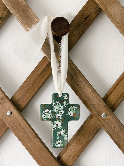 Hand-Painted Floral Cross