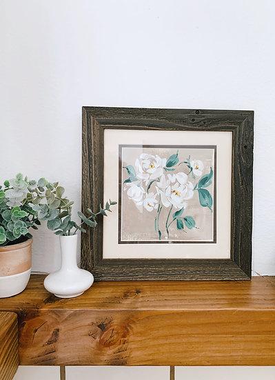 White Garden Roses - On Sand (Framed)