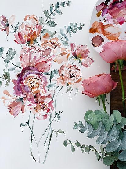 [FRAMED] Original Garden Roses