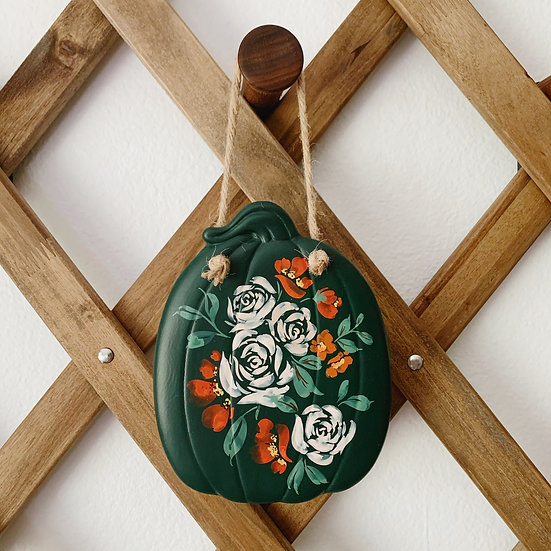 Hand-Painted Floral Ceramic Pumpkin