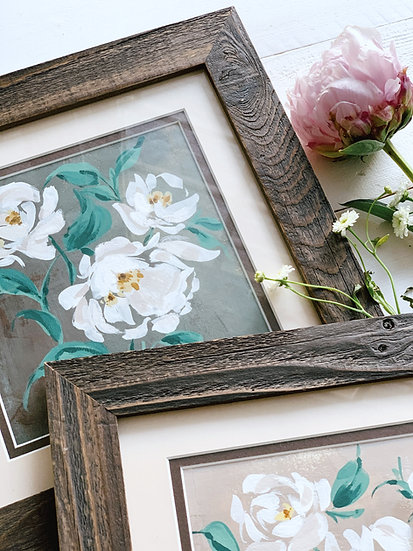 White Garden Roses - On Seaweed (Framed)