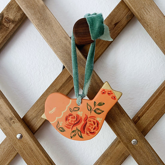 Floral Ceramic Bird Ornament
