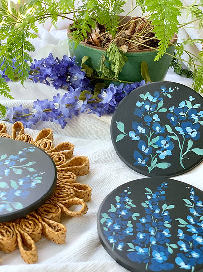 Hand-painted Floral Coasters