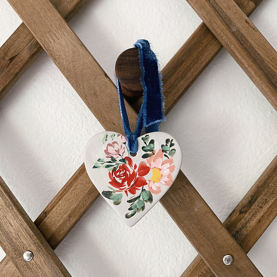 Hand-painted Ceramic Heart Ornament