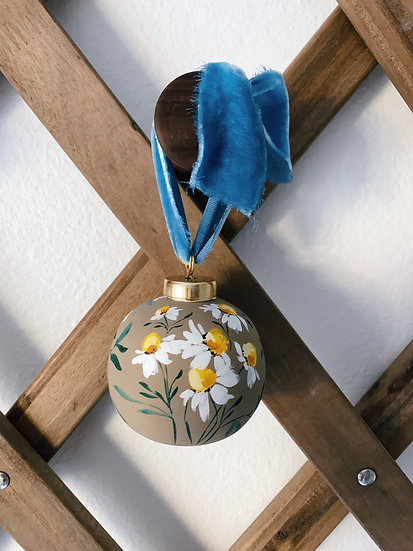 Hand painted chamomile ornament