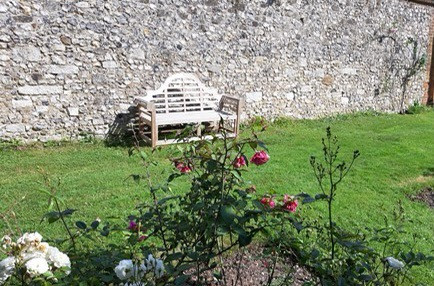 "My ""Yuletide"" Bench Installed in Chawton House Walled Garden"