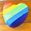 Thumbnail: Pride rainbow heart Rhubarb & Custard slow Foaming Bath Bomb