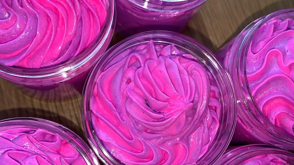 Pink peppercorn & raspberry fragranced  fluff whipped soap