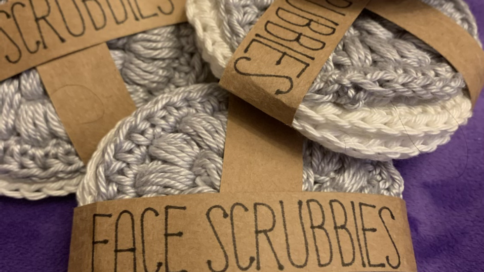 Face Scrubby 100% cotton x3 washable pads  white cream grey