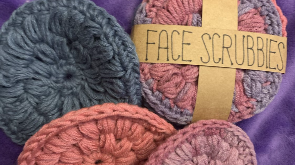 Face Scrubby 100% cotton x3 washable pads pink blue