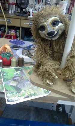 Baby Sloth rod puppet