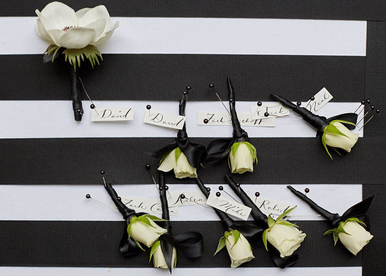 Luxury wedding held at the Plaza in Manhattan.  The boutonnieres, flowers and décor was done by David Beahm Experiences and planned by New York based wedding planner Imagine Party and Events. A celebrity wedding with high-end clients.  The theme was a black and white wedding.