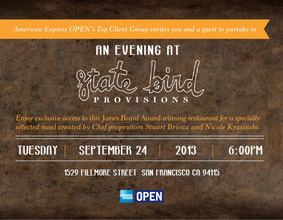STATE BIRD PROVISIONS INVITATION