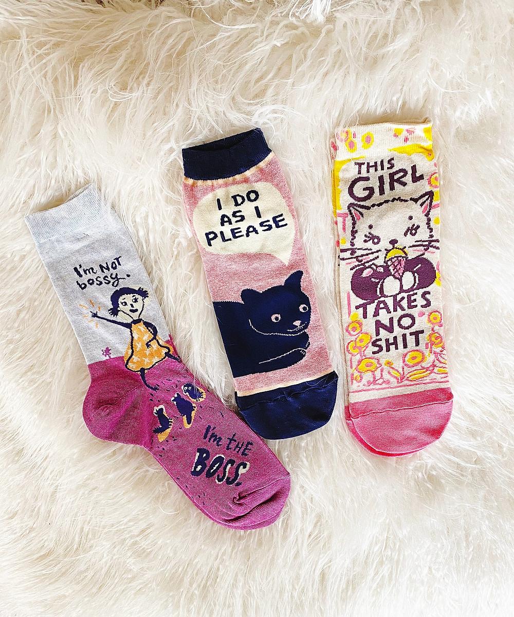 I'm Not Bossy, I'm the Boss, I Do As I Please and This Girl Takes No Sh*t Socks | Blue Q | Yoga Fashion Self Care Blogger