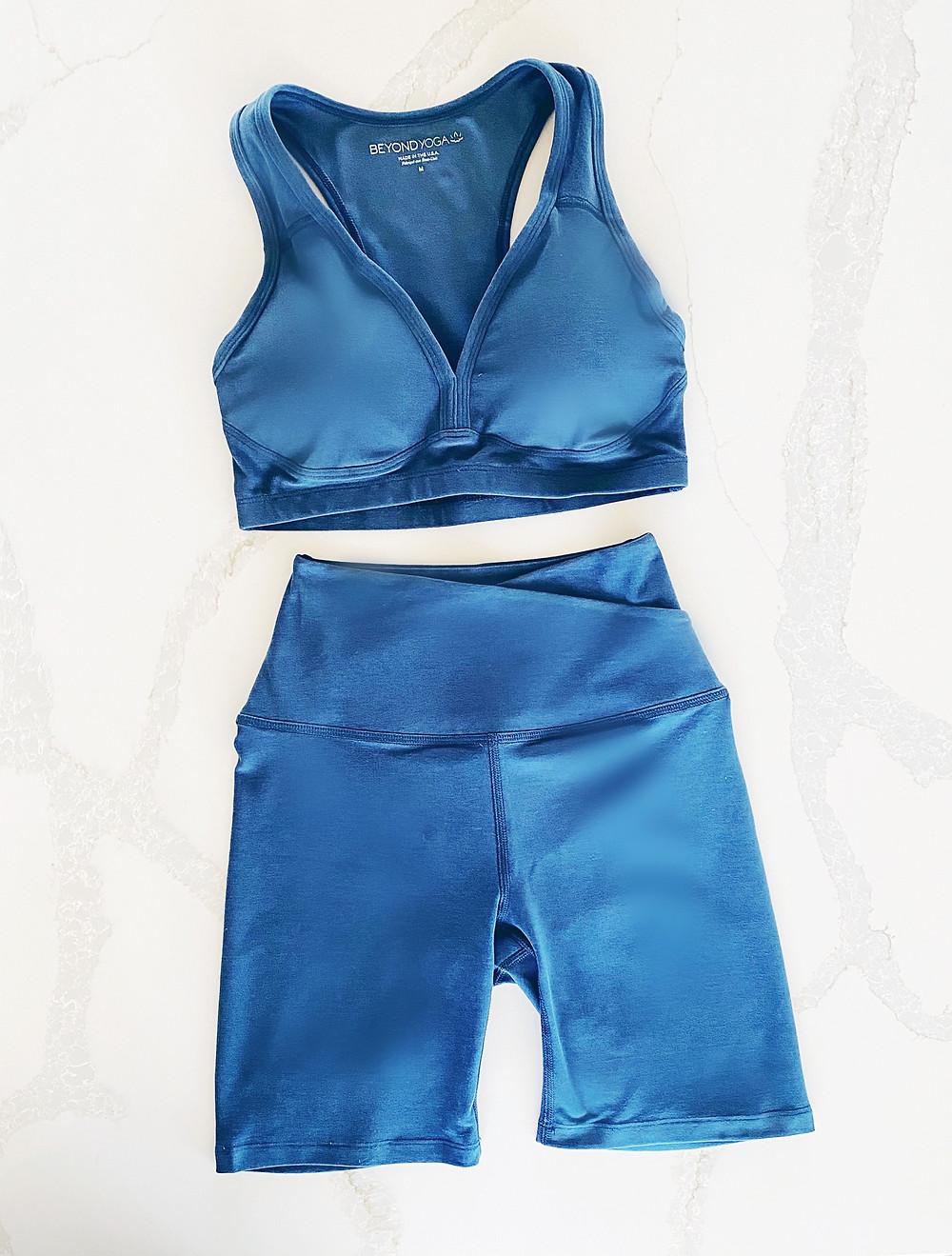 Yoga Fashion - Best Biker Shorts 2021 - Beyond Yoga Blue Heather