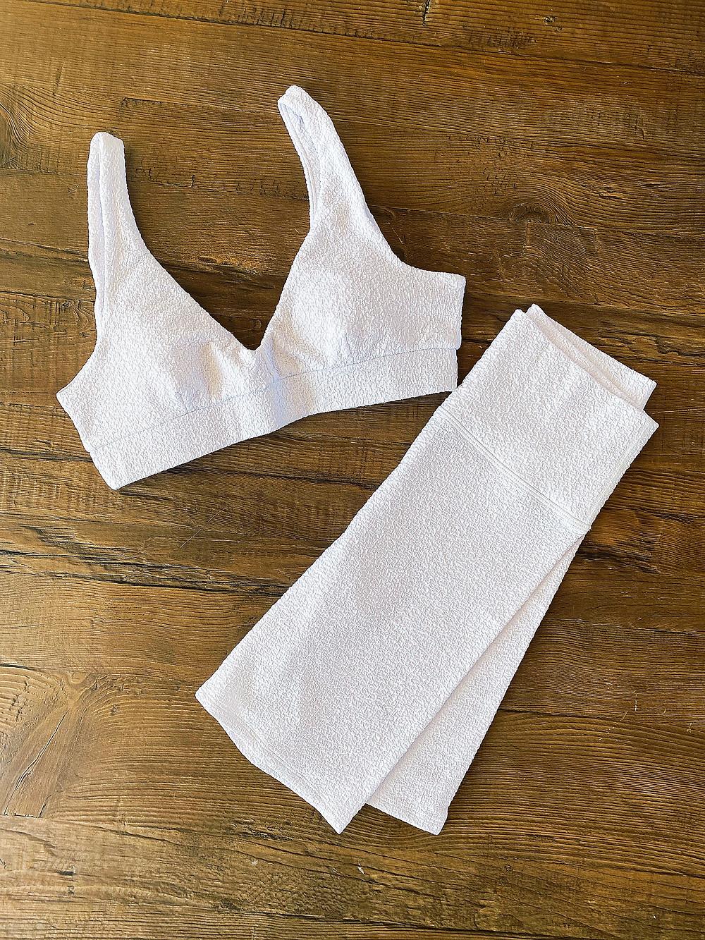 Yoga Fashion - Best Biker Shorts - Malibu Crinkle Biker Shorts & Malibu Crinkle V Neck Bra